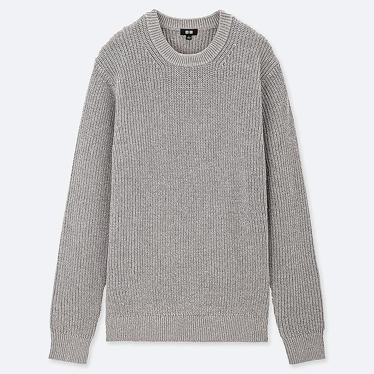 MEN MIDDLE GAUGE RIBBED CREWNECK SWEATER, GRAY, large