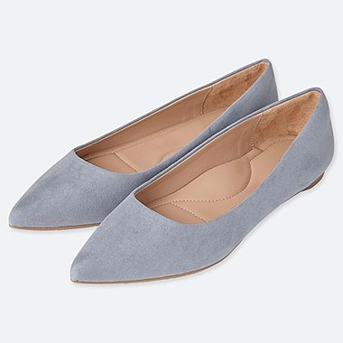 WOMEN POINTED FLAT SHOES, GRAY, medium