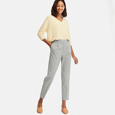 WOMEN EZY TUCKED ANKLE-LENGTH PANTS, GRAY, medium