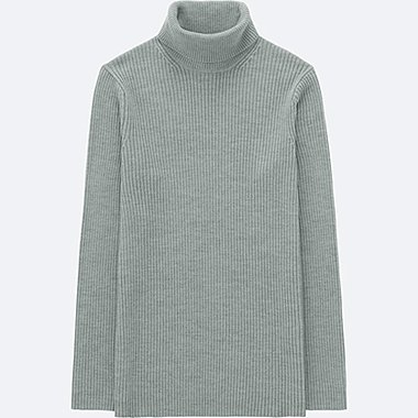 MEN RIBBED TURTLENECK LONG SLEEVED SWEATER