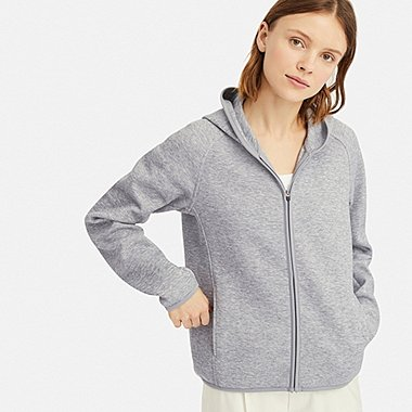 WOMEN LONG-SLEEVE DRY SWEAT FULL-ZIP HOODIE, GRAY, medium