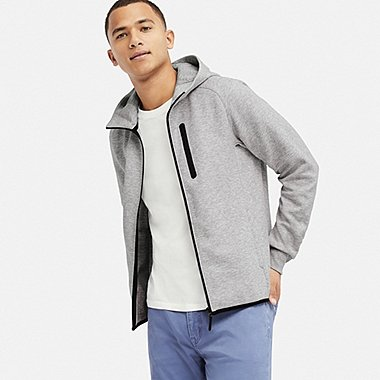 MEN DRY STRETCH SWEAT FULL-ZIP HOODED SWEATSHIRT, GRAY, medium