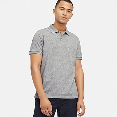 MEN DRY PIQUE SHORT-SLEEVE POLO SHIRT, GRAY, medium