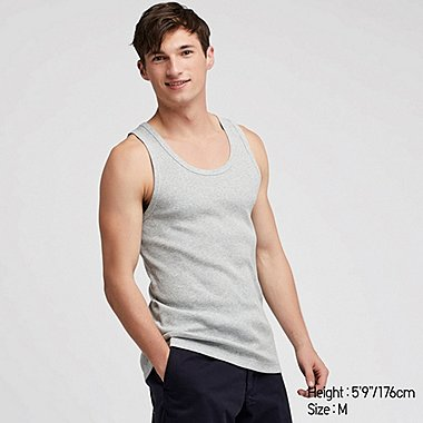 MEN PACKAGED DRY RIBBED TANK TOP, GRAY, medium