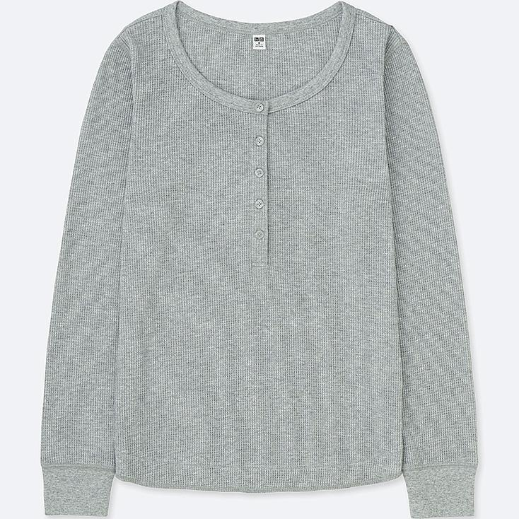 WOMEN WAFFLE HENLEY NECK LONG-SLEEVE T-SHIRT, GRAY, large