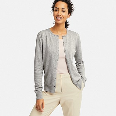WOMEN UV CUT SUPIMA® COTTON CREW NECK CARDIGAN, GRAY, medium