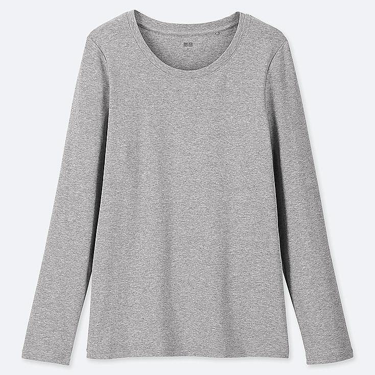 WOMEN 1*1 RIBBED COTTON CREW NECK LONG-SLEEVE T-SHIRT, GRAY, large