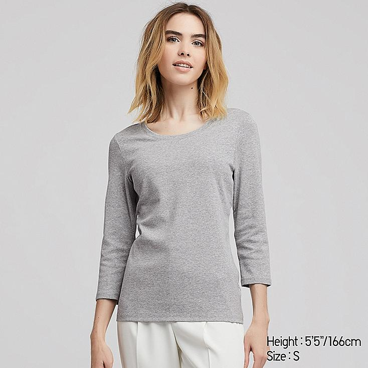 WOMEN 1*1 RIBBED COTTON CREW NECK 3/4 SLEEVE T-SHIRT, GRAY, large