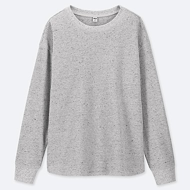 WOMEN WAFFLE CREW NECK LONG-SLEEVE T-SHIRT, GRAY, medium