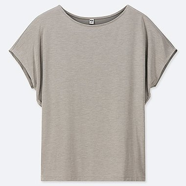 WOMEN DRAPE CREW NECK SHORT-SLEEVE T-SHIRT, GRAY, medium