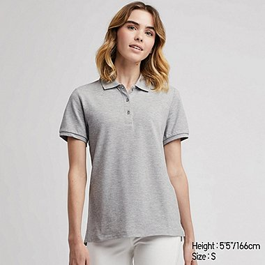 WOMEN STRETCH PIQUE SHORT-SLEEVE POLO SHIRT, GRAY, medium