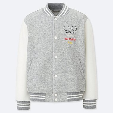 KIDS CELEBRATE MICKEY DRY STRETCH SWEAT BLOUSON, GRAY, medium