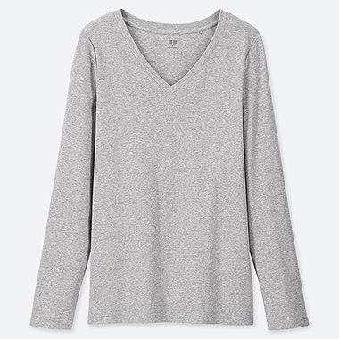 WOMEN COTTON RIBBED V NECK LONG SLEEVED T-SHIRT