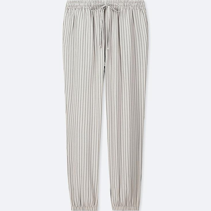 WOMEN DRAPE JOGGER STRIPE PANTS, GRAY, large