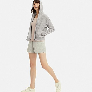 WOMEN AIRism PILE LONG-SLEEVE ZIP-UP HOODIE, GRAY, medium