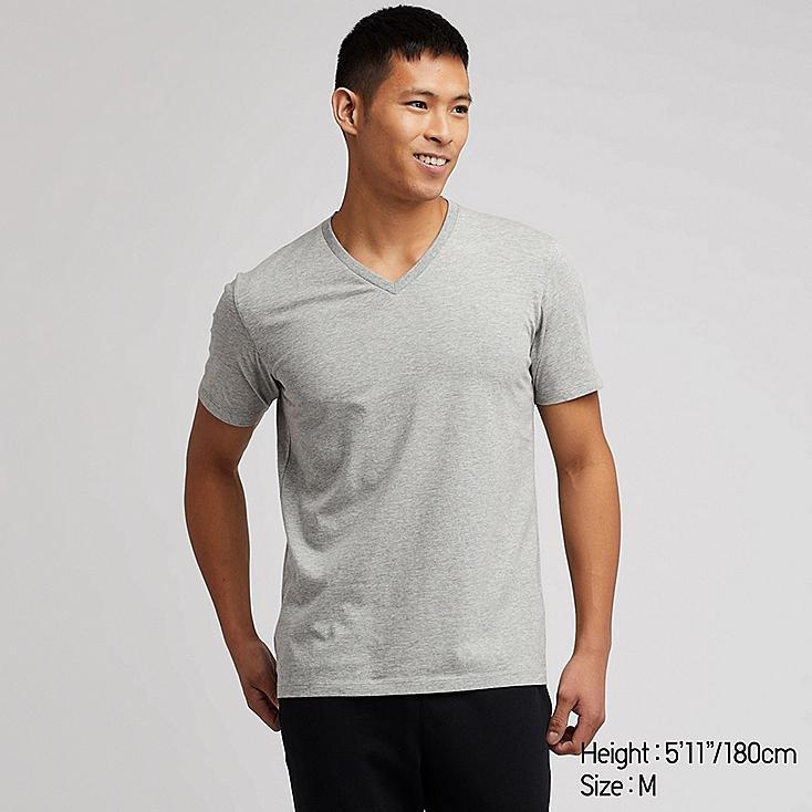 MEN SUPIMA® COTTON V-NECK SHORT-SLEEVE T-SHIRT, GRAY, large