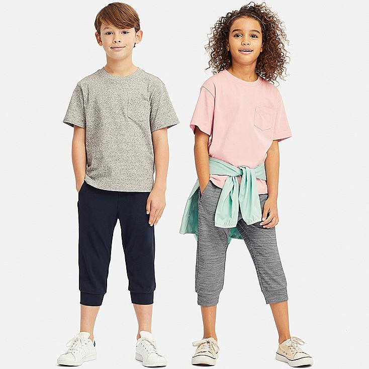 KIDS ULTRA STRETCH ACTIVE CROPPED PANTS, GRAY, large