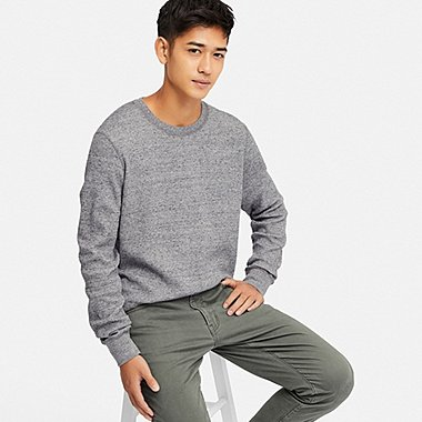 MEN WAFFLE CREW NECK LONG-SLEEVE T-SHIRT, GRAY, medium
