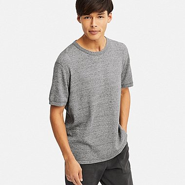 MEN WAFFLE CREW NECK SHORT-SLEEVE T-SHIRT, GRAY, medium