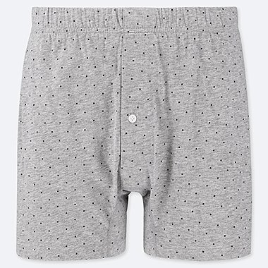 MEN KNIT BOXERS, GRAY, medium
