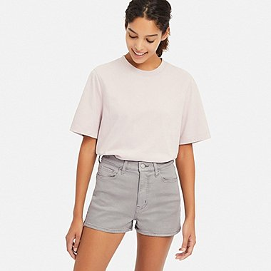 WOMEN HIGH-RISE SLIM-FIT DENIM COLOR SHORTS, GRAY, medium