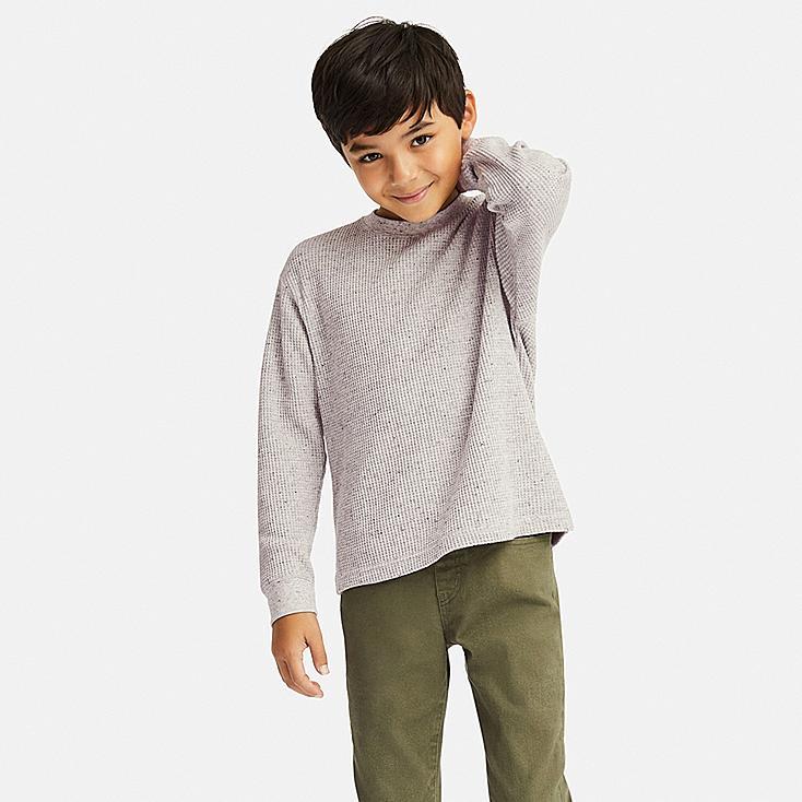 KIDS WAFFLE CREWNECK LONG-SLEEVE T-SHIRT, GRAY, large