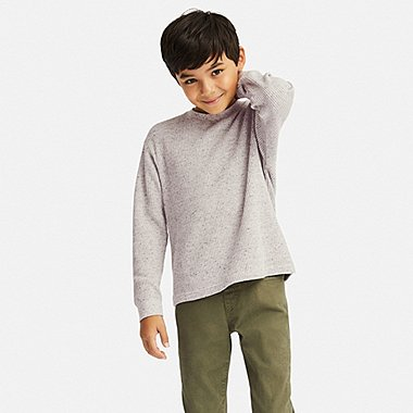 KIDS WAFFLE CREWNECK LONG-SLEEVE T-SHIRT, GRAY, medium