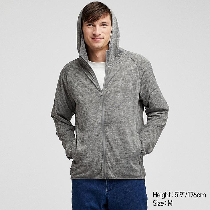 MEN DRY-EX LONG-SLEEVE FULL-ZIP HOODIE, GRAY, large
