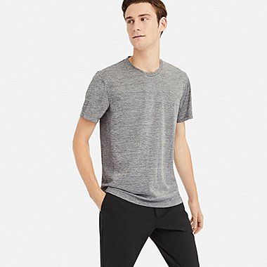 MEN DRY-EX CREW NECK SHORT-SLEEVE T-SHIRT, GRAY, medium