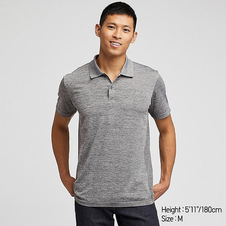 MEN DRY-EX SHORT-SLEEVE POLO SHIRT, GRAY, large
