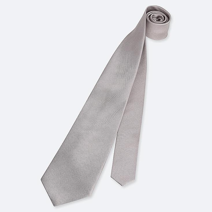 MEN SILK TIE, GRAY, large