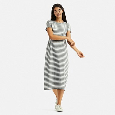 WOMEN STRIPED SHORT-SLEEVE LONG BRA DRESS, GRAY, medium