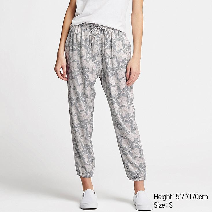 WOMEN DRAPE JOGGER PANTS, GRAY, large