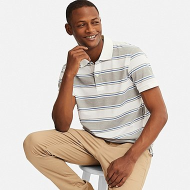 MEN DRY-EX PIQUE STRIPED POLO SHIRT, GRAY, medium