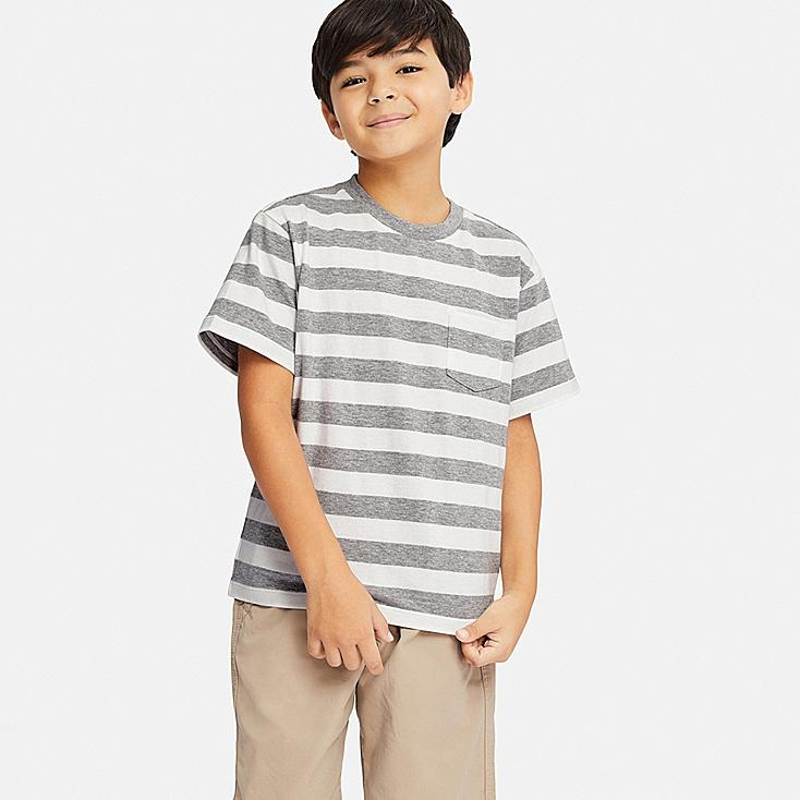 KIDS STRIPED CREW NECK SHORT-SLEEVE T-SHIRT, GRAY, large