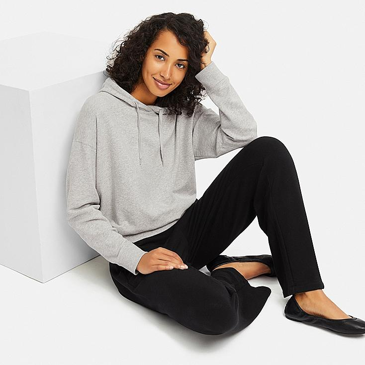 WOMEN ULTRA STRETCH HOODIE SET LONG-SLEEVE, GRAY, large