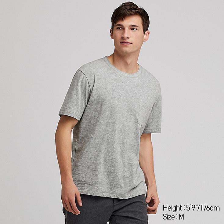 MEN SLUB CREW NECK POCKET T-SHIRT, GRAY, large
