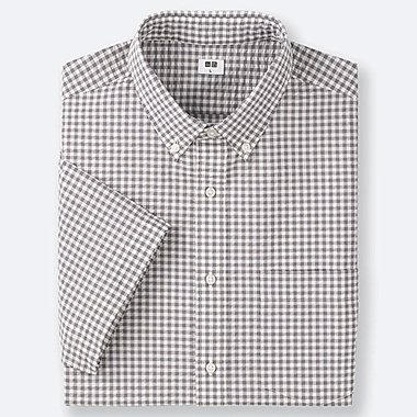 MEN DRY SEERSUCKER CHECKED SHORT-SLEEVE SHIRT, GRAY, medium