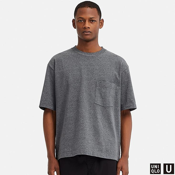 MEN U OVERSIZE CREW NECK SHORT-SLEEVE T-SHIRT, GRAY, large