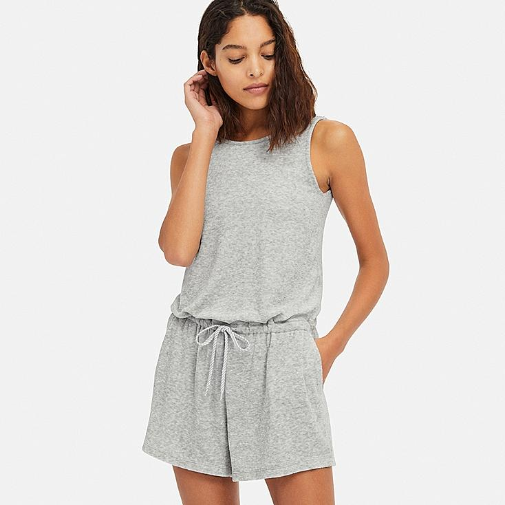 WOMEN AIRism PILE ROMPER (WITH PADDING), GRAY, large