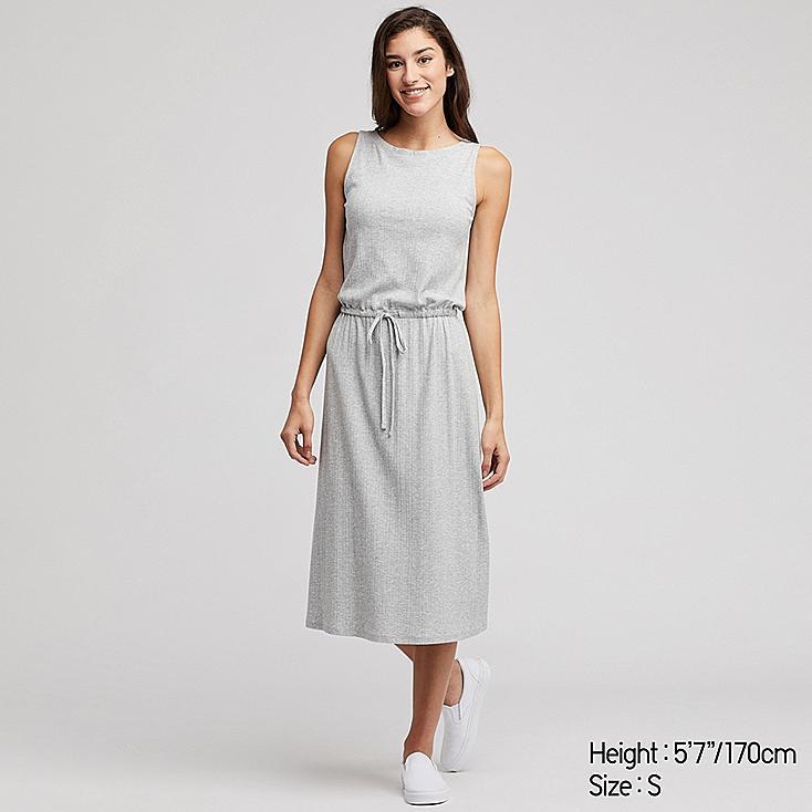 WOMEN SLEEVELESS RELAX DRESS (WITH PADDING), GRAY, large