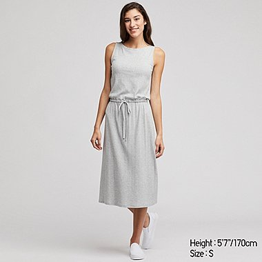 WOMEN RELAX PADDED RIBBED LOUNGE DRESS
