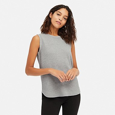 WOMEN WAFFLE SLEEVELESS T-SHIRT, GRAY, medium
