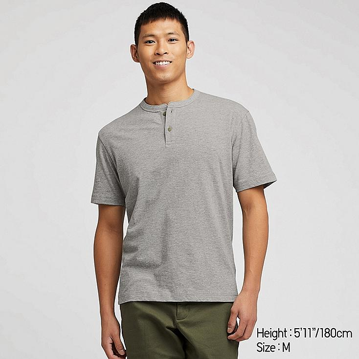 MEN SLUB HENLEY NECK SHORT-SLEEVE T-SHIRT, GRAY, large