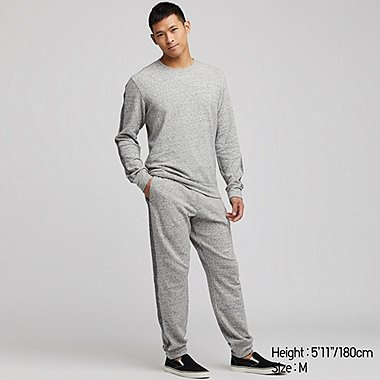 MEN ULTRA STRETCH HEATHER LONG SLEEVED LOUNGE SET