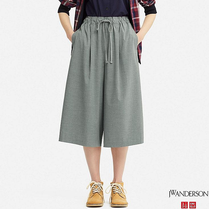 WOMEN WIDE CROPPED PANTS (JW Anderson), GRAY, large
