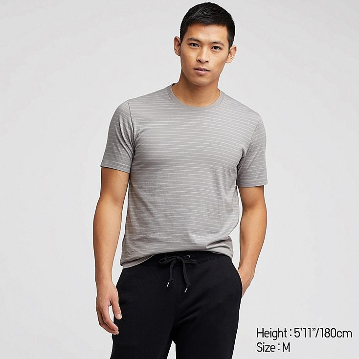 MEN SUPIMA® COTTON STRIPED SHORT-SLEEVE T-SHIRT, GRAY, large