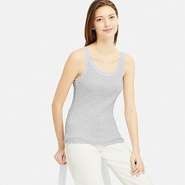 WOMEN COTTON POINTELLE LACE SLEEVELESS TOP, GRAY, medium