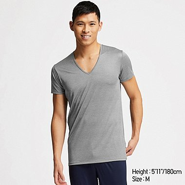 MEN AIRism MESH V-NECK SHORT-SLEEVE T-SHIRT, GRAY, medium