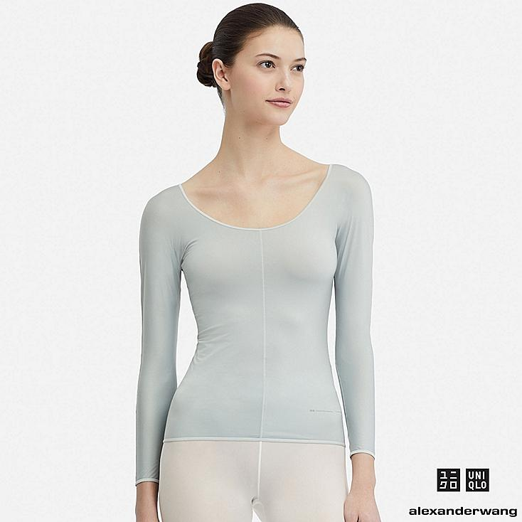 WOMEN AIRism ROUND NECK LONG-SLEEVE T-SHIRT (ALEXANDER WANG), GRAY, large